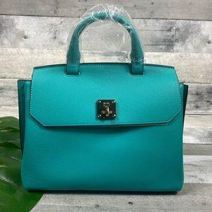 MCM medium oasis green backpack purse bag